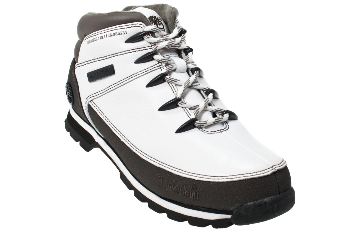 timberland eurosprint mens white leather black ankle boots