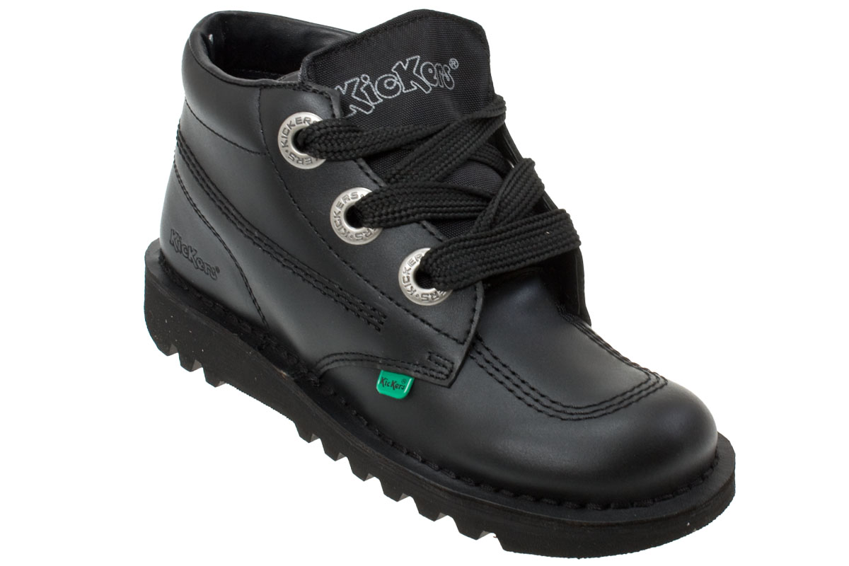 Kickers Kick Hi Phat Youth Kids Black Leather Lace Up Ankle Boots Size 3-6 | EBay