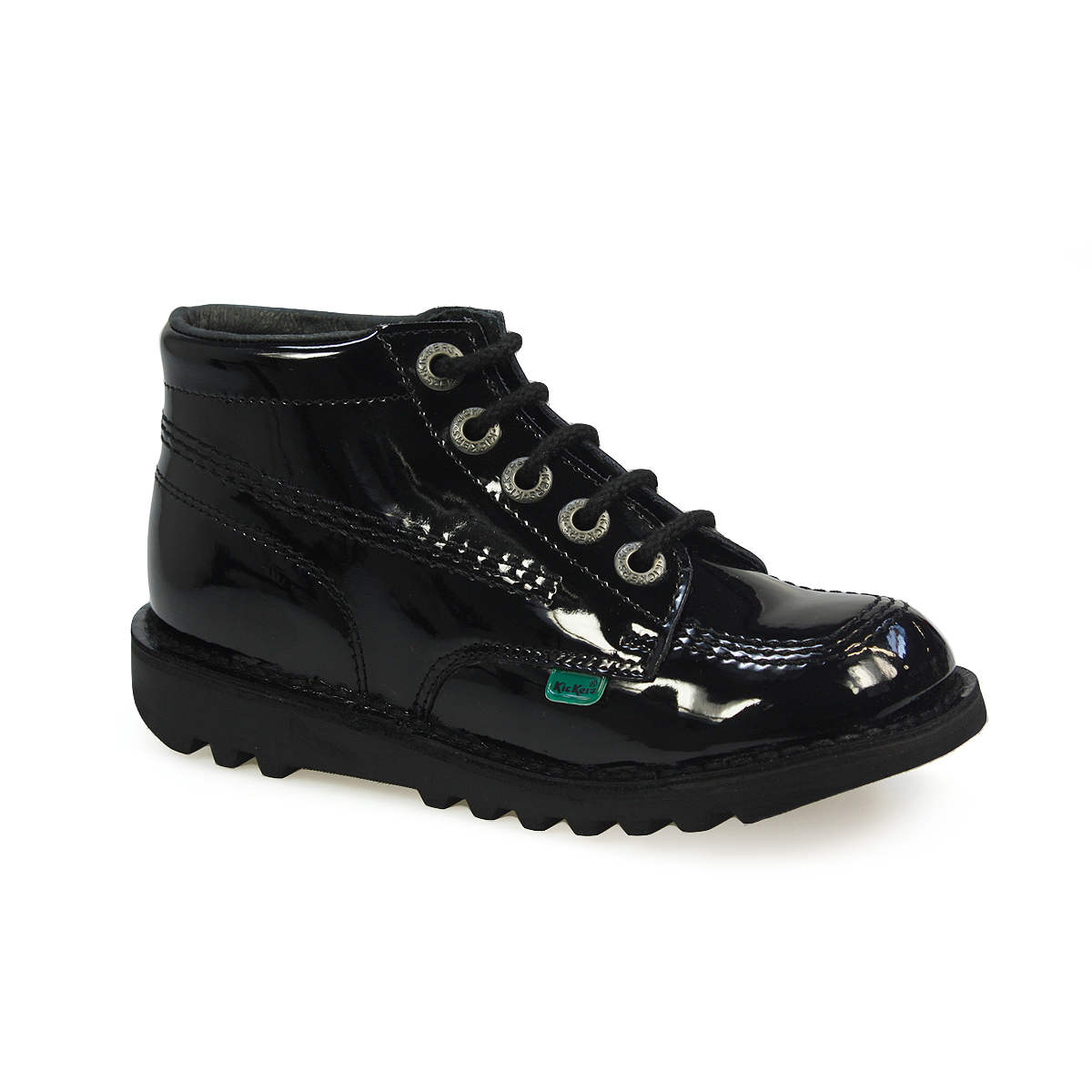 Kickers Kick Junior Black Patent Leather Kids School Boots ...