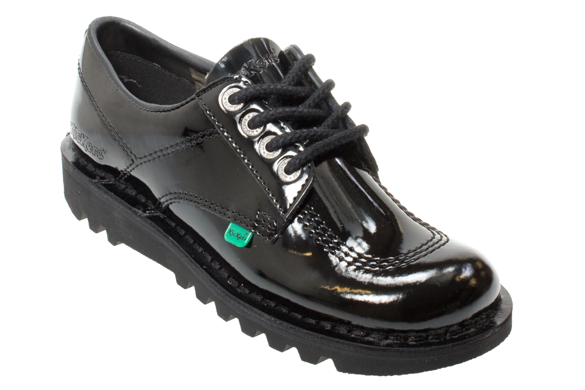 kickers kick lo black kl patent leather boots shoes