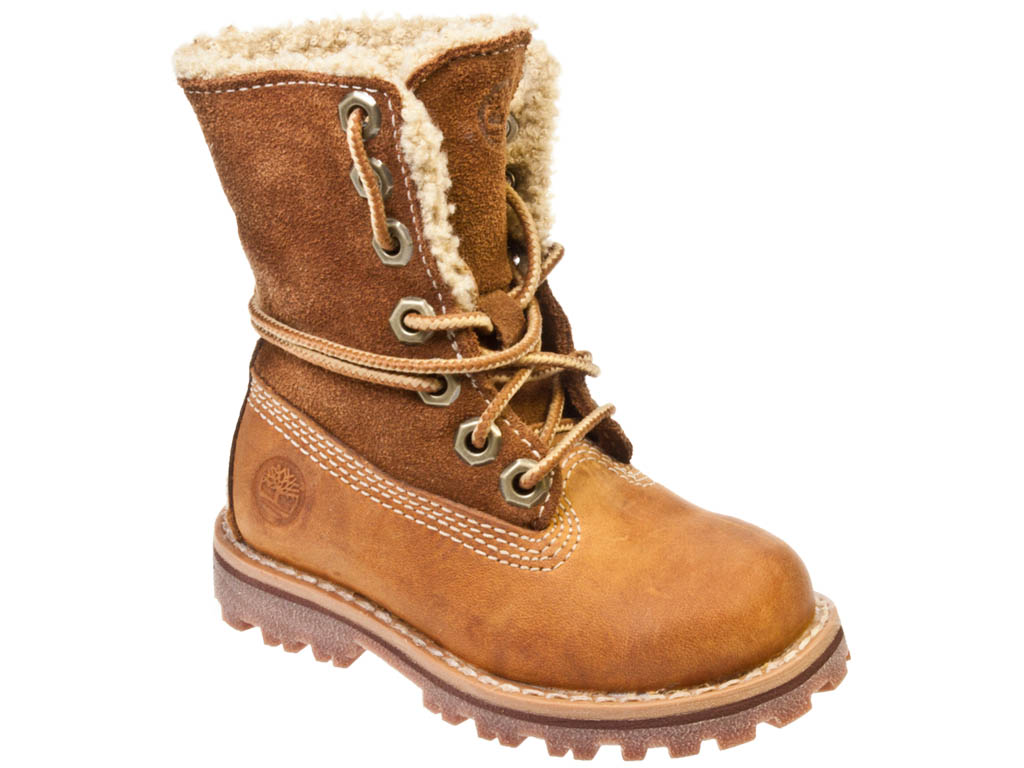 Timberland Authentics Shearling Toddler Kids Brown Leather ...