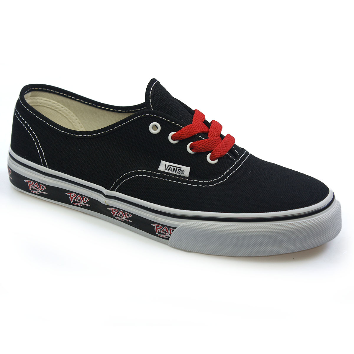 Vans Authentic Rad Pack Kids Red Black Canvas Trainers Sneakers ...