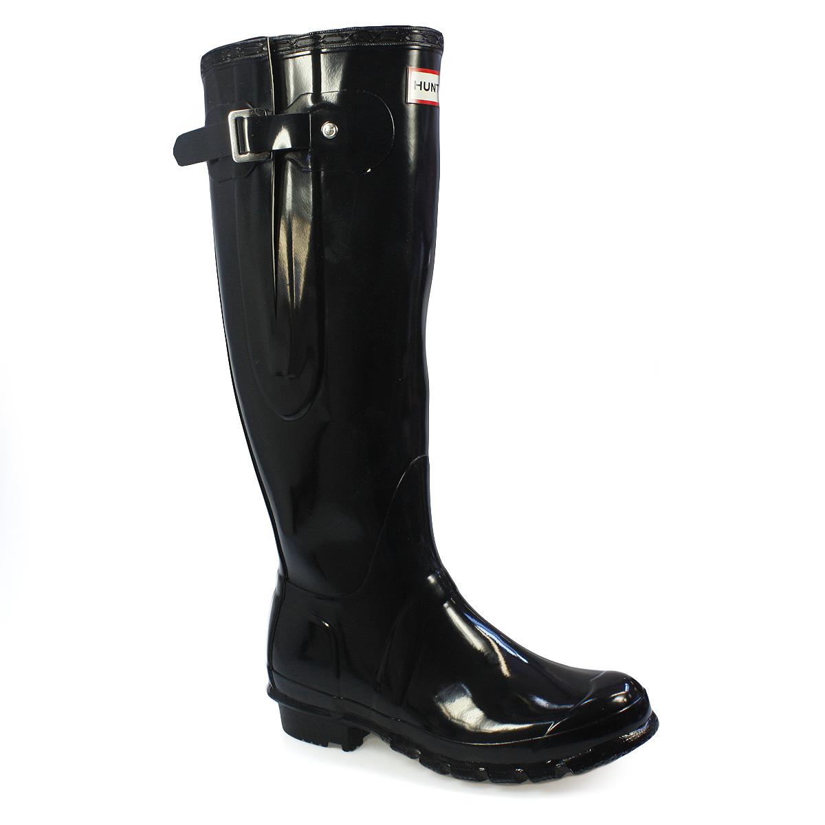 hunter original high adjust gloss black wellington boots shoes women size 3 8. Black Bedroom Furniture Sets. Home Design Ideas