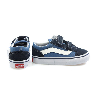 Vans Old Skool Navy White Velcro Canvas Toddlers Trainers