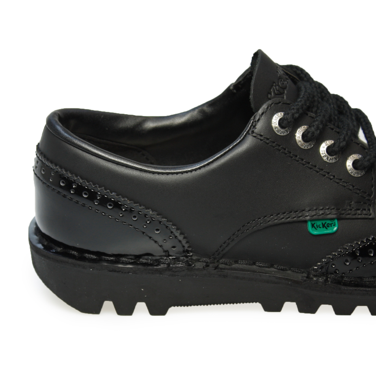 Black kicker sandals - Kickers Kick Lo Core Black Brogue Leather Boots