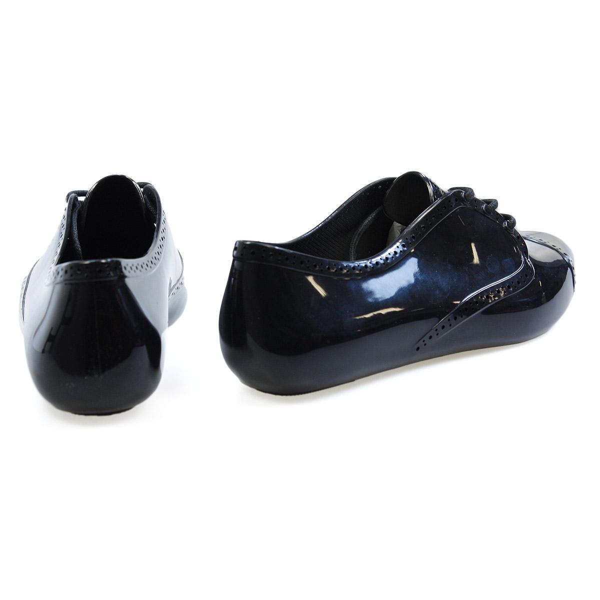 mel lemon shiny black melflex brogue lace up shoes