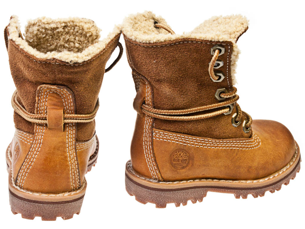 timberland authentics shearling toddler brown leather