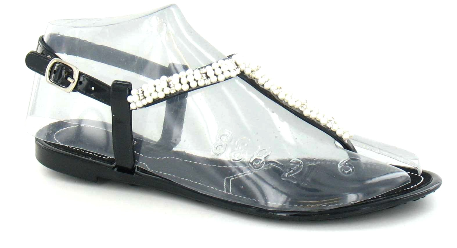 spot on strass sandalen mit perlen f r sommer mit gelsteg. Black Bedroom Furniture Sets. Home Design Ideas