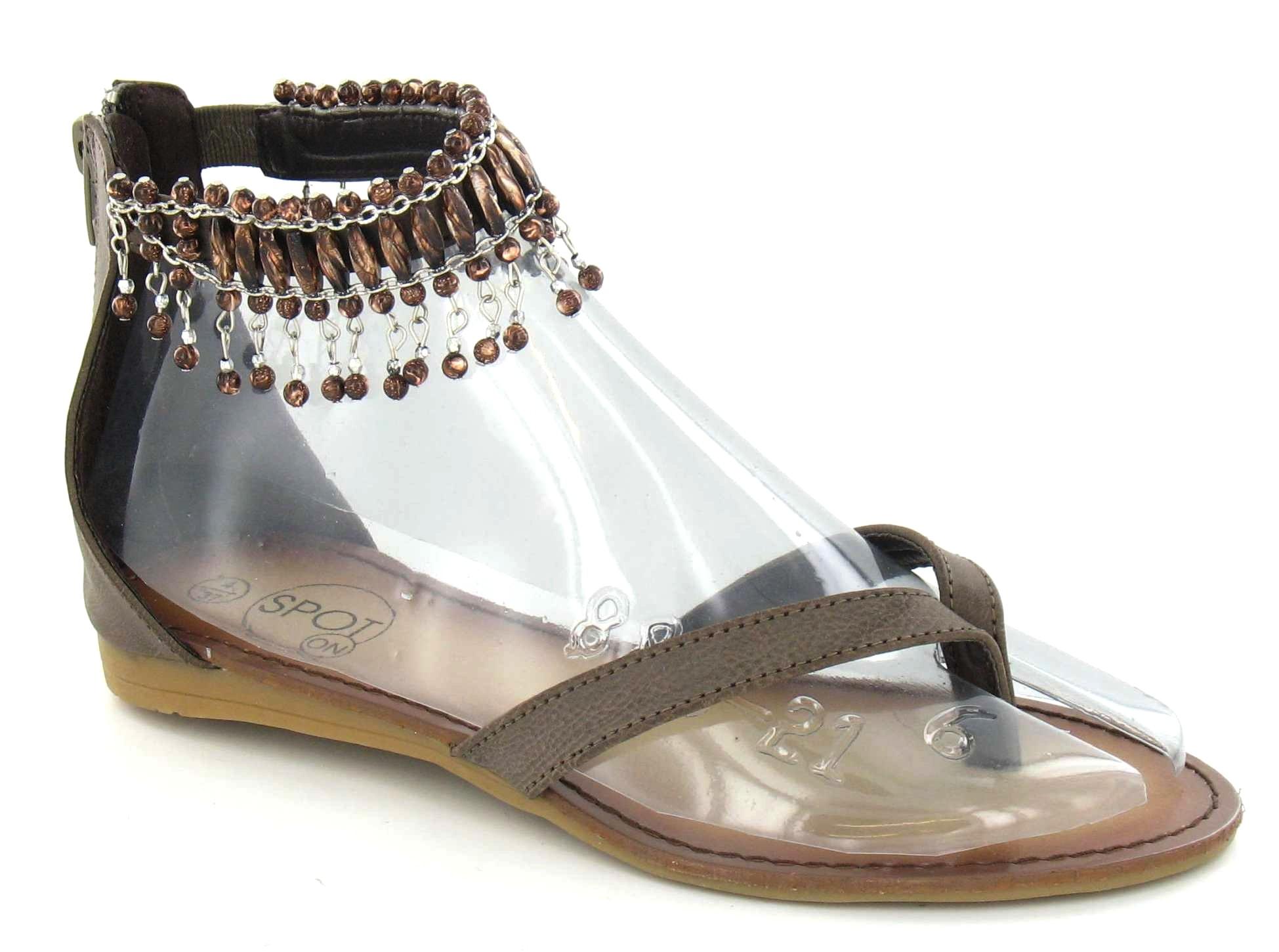 spot on flache zehenschuhe sandalen mit perlen kn chel. Black Bedroom Furniture Sets. Home Design Ideas