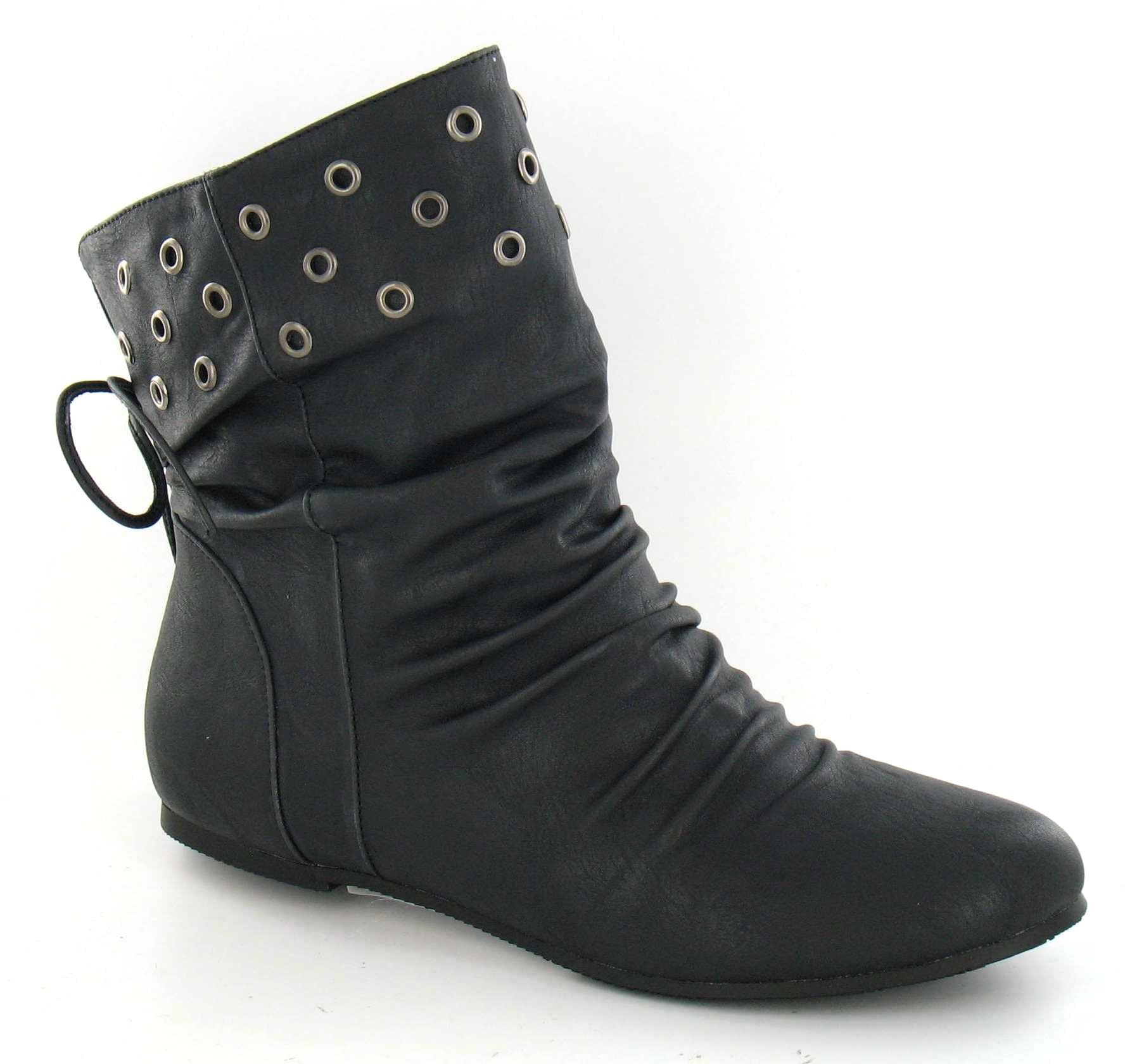 spot on flat ankle boot lace up back metal holes