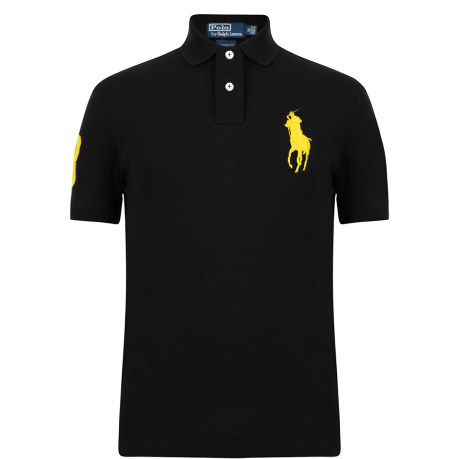 POLO RALPH LAUREN Custom-Fit Big Pony Polo in BBK/YELLOW ...