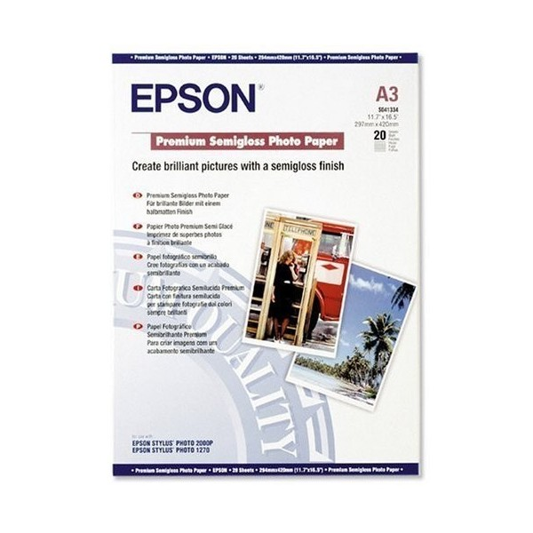 Epson 8 Color Inkjet Print Epson Premium Semigloss Photo: Epson Premium Carta Fotografica Lucida Semi A3 251 GSM 20
