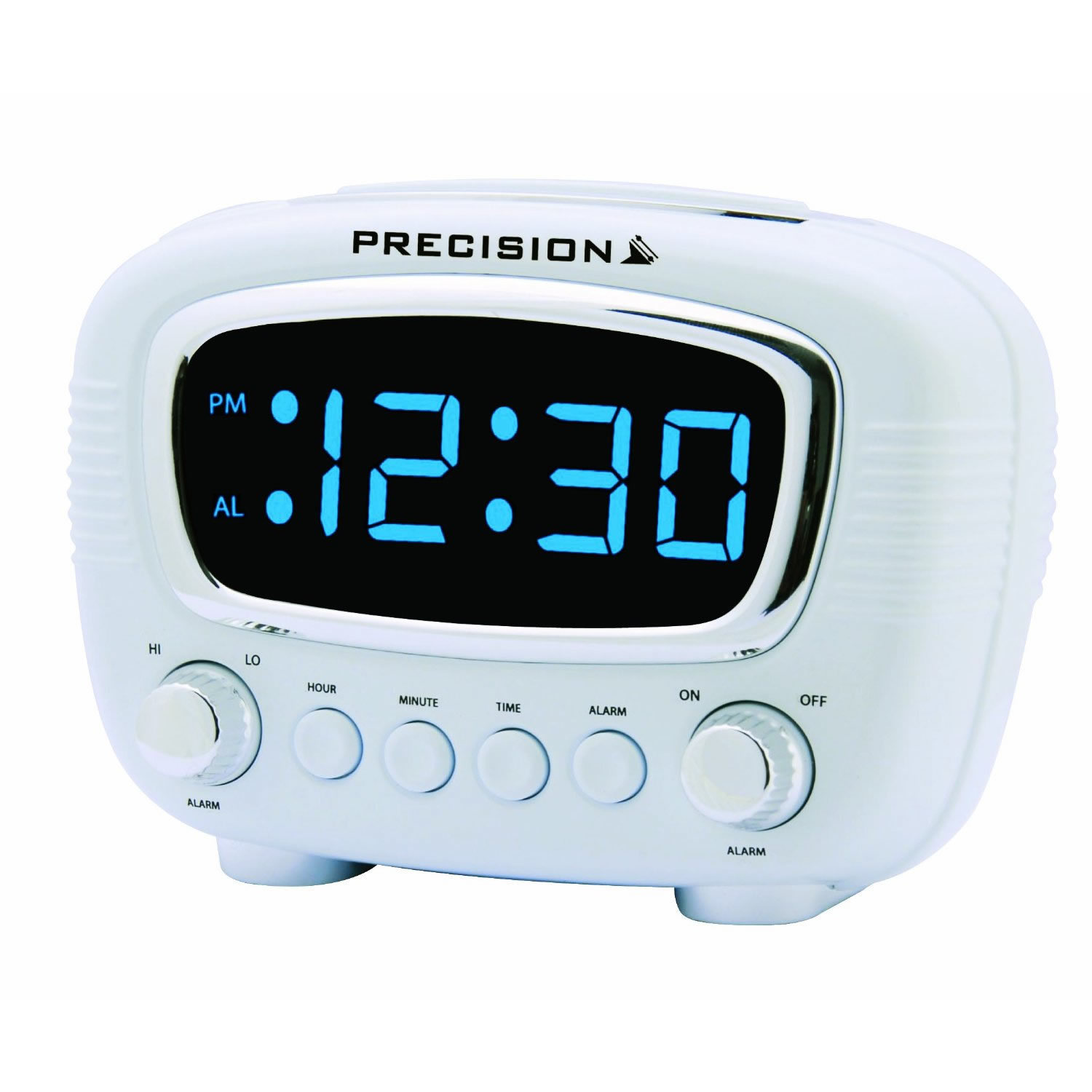 electric radio controlled led alarm clock accurate precision white clocks snooze ebay. Black Bedroom Furniture Sets. Home Design Ideas