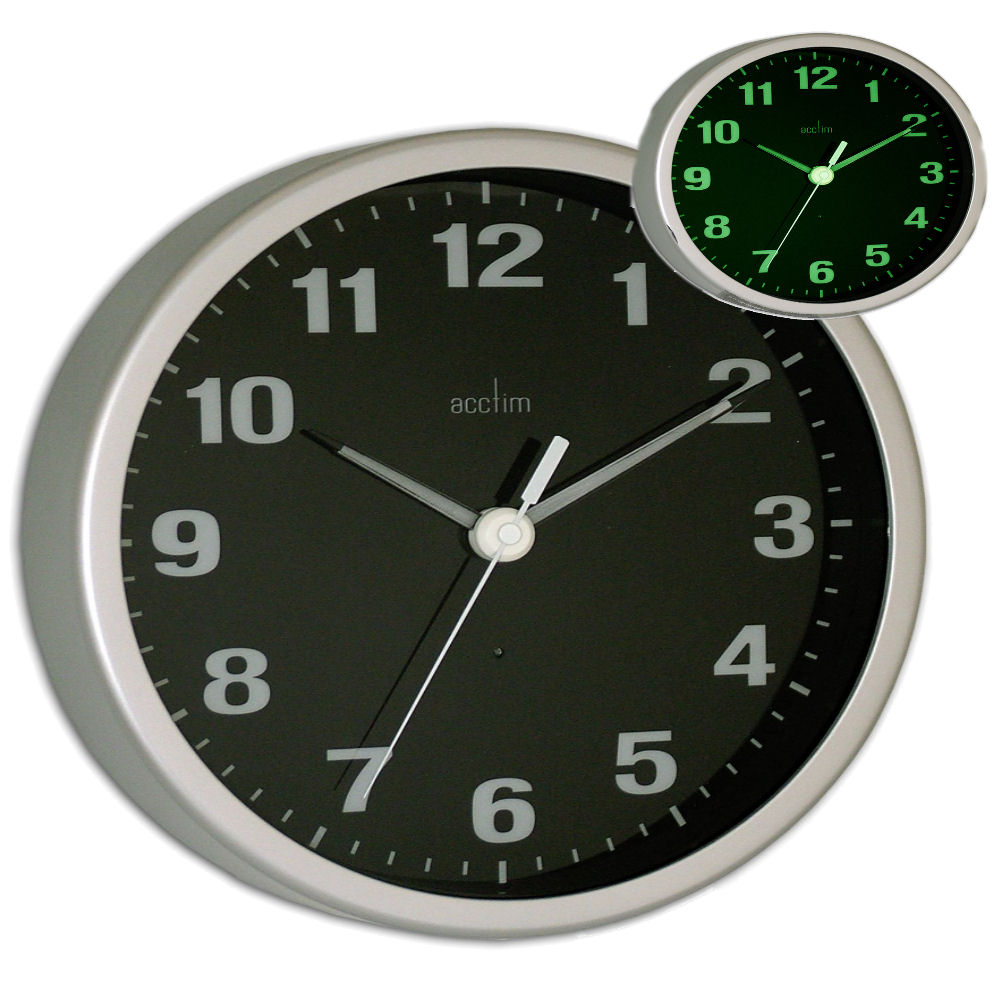 Acctim Smartlite Light Up Display Wall Clock Silver Black