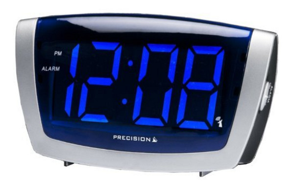 precision radio controlled blue led clock large display electric alarm clocks ebay. Black Bedroom Furniture Sets. Home Design Ideas