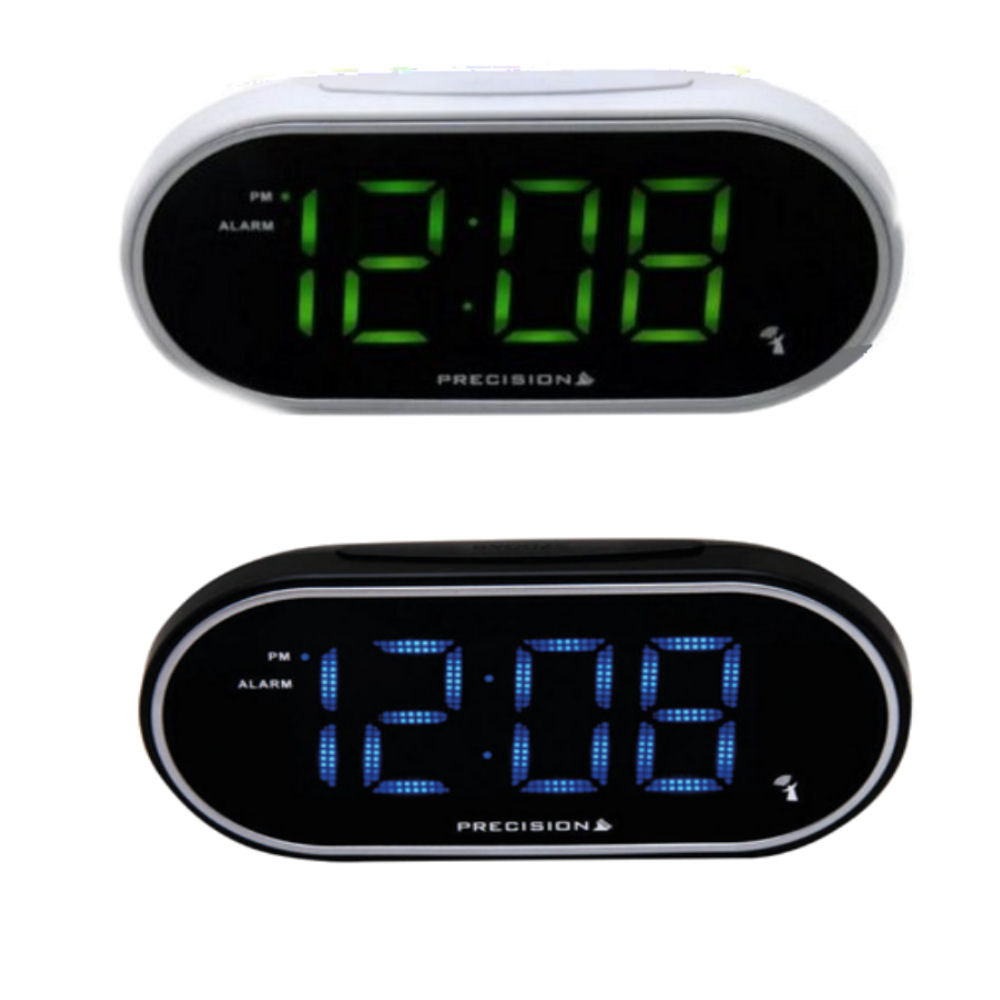 led electric radio controlled alarm clock snooze blue or green large display ebay. Black Bedroom Furniture Sets. Home Design Ideas