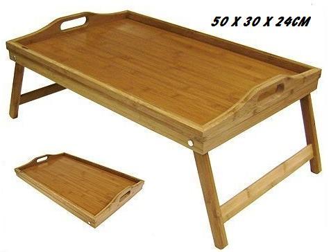 bed tray breakfast serving trays folding legs bamboo lap tray 50 x 30 x 24cm ebay. Black Bedroom Furniture Sets. Home Design Ideas