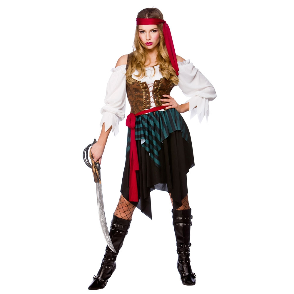 Caribbean Pirate Ladies Fancy Dress Costume Pirates Themed Adults Party Outfit
