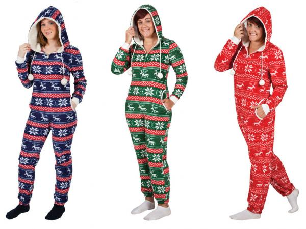 Christmas Onesie Pyjama Sleep Suit All In One Hooded Ladies Mens ...