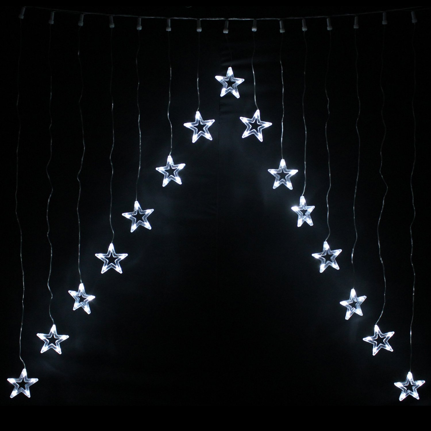 Christmas Lights V Shaped 15 Star Curtain Window Decoration 75 White LED Bulbs