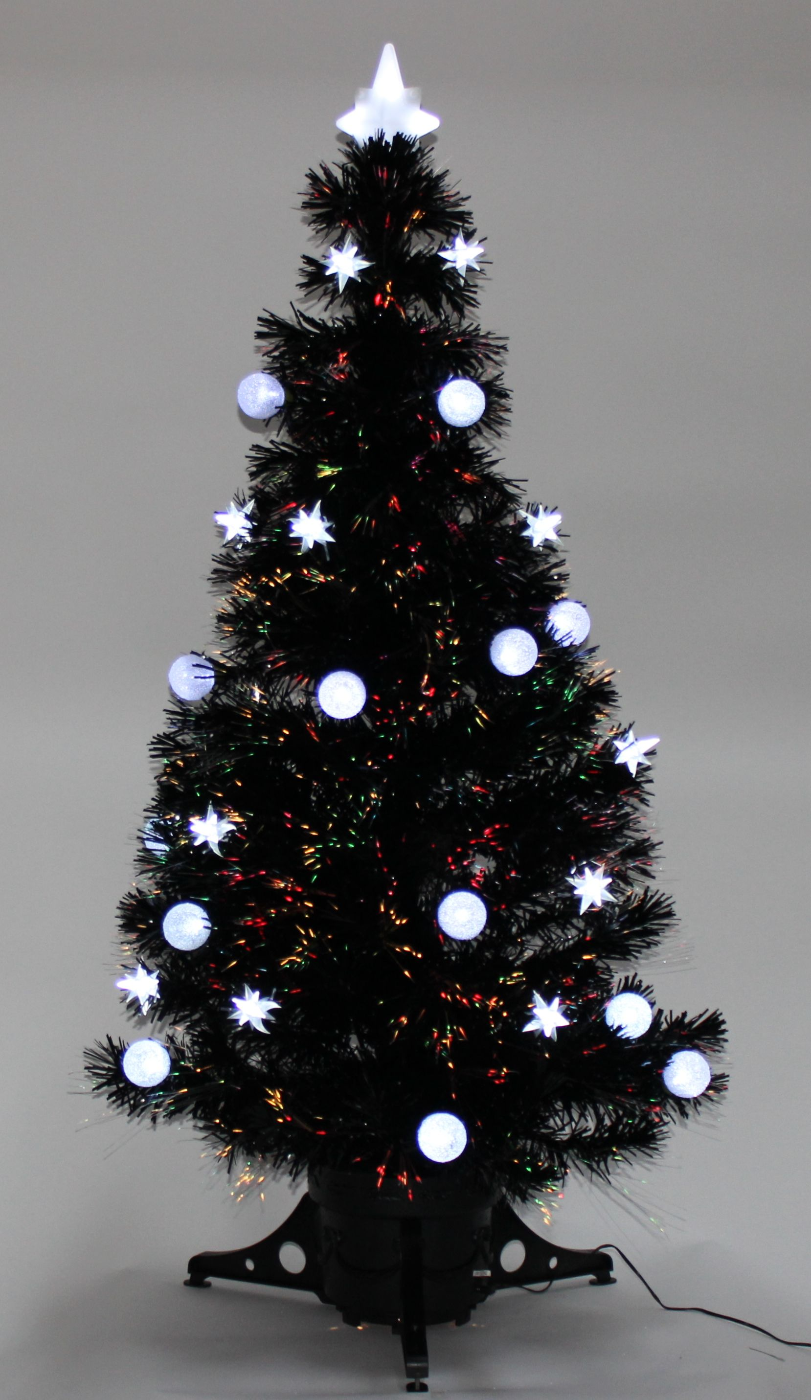 Christmas Tree 4ft 5ft 6ft Black Fibre Optic Star And