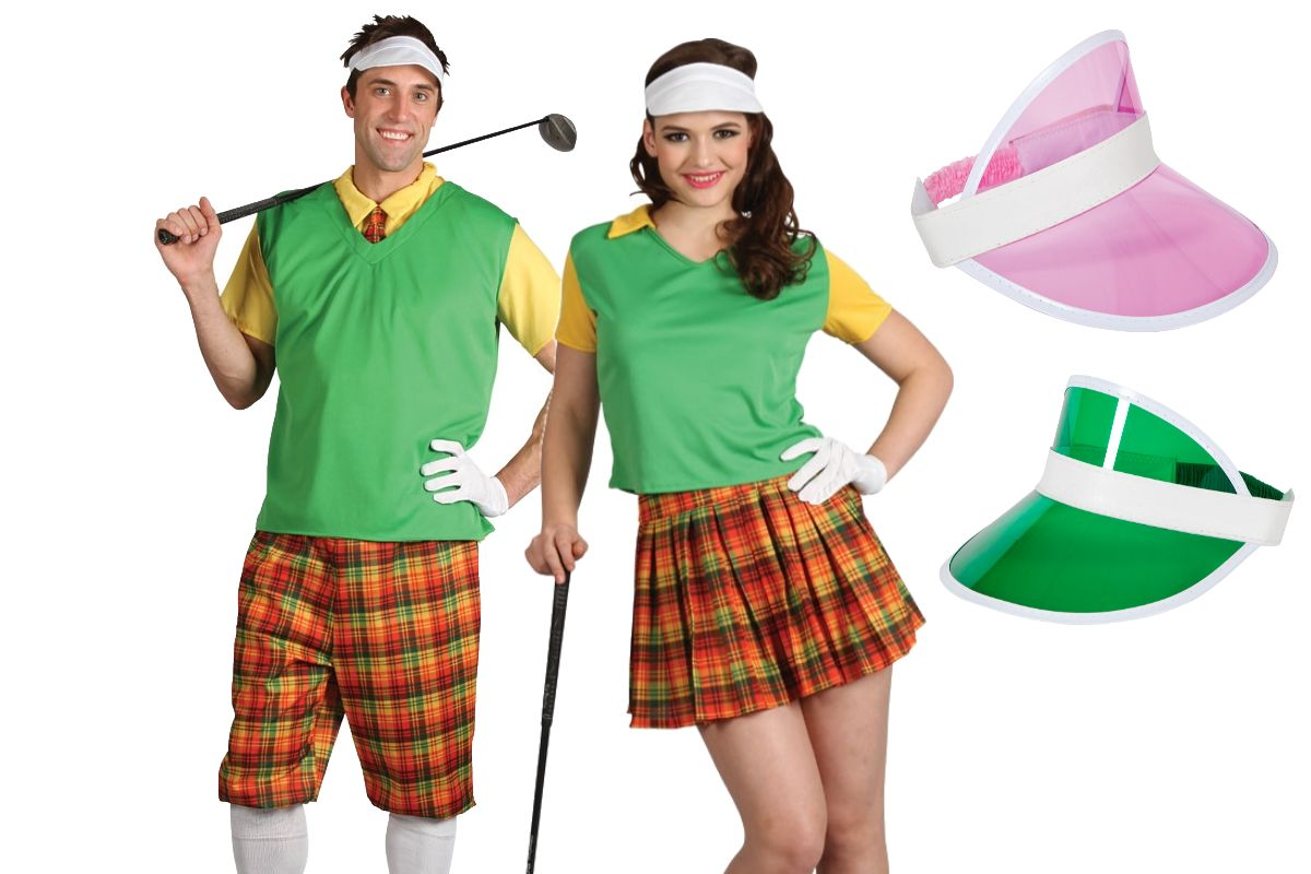 Adults Pub Golf Party Stag Hen Ladies Mens Funny Golfer Outfit Novelty Add Visor