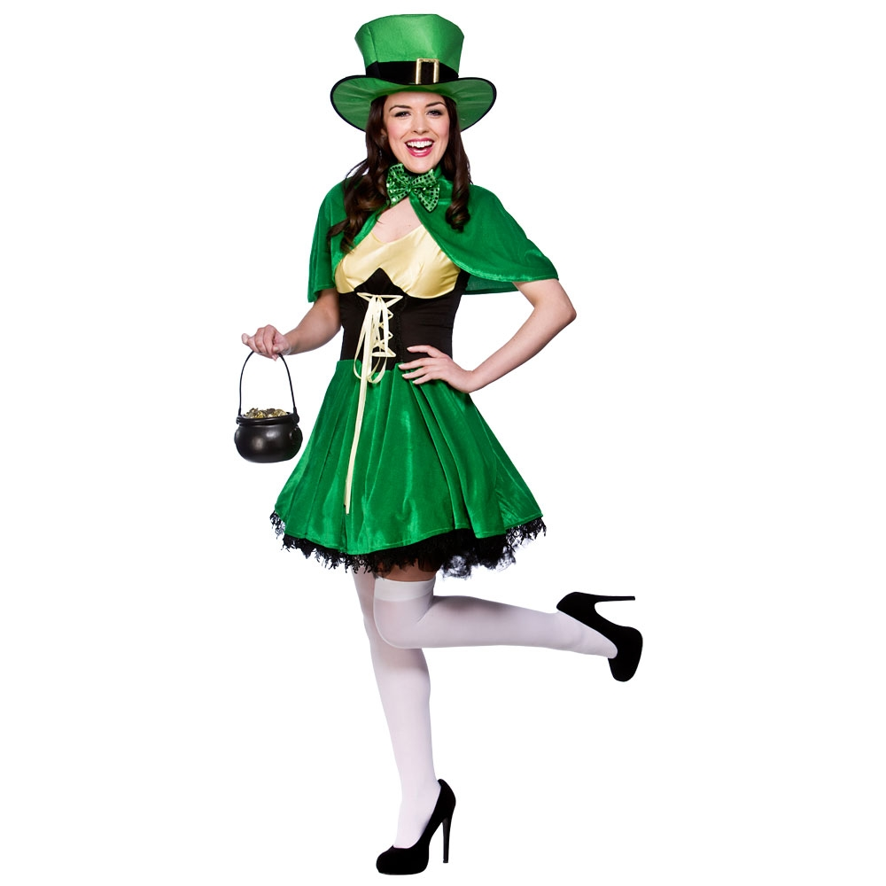 Adult Irish Ireland St Patricks Day Lucky Leprechaun Ladies Fancy Dress Costume