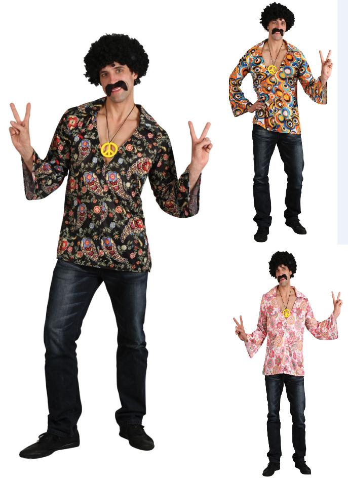 Hippie Shirt Mens Fancy Dress Costume 60s 70s Hippy Outfit Mens Ladies 3 Sizes