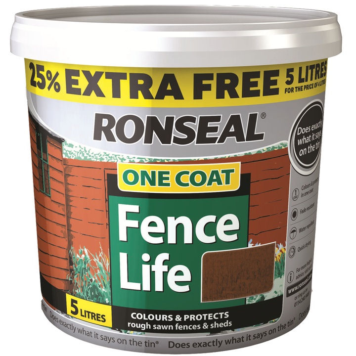 Garden Paint Shed Fence Ronseal One Coat 4l 25 Extra Free Red Oak Harvest