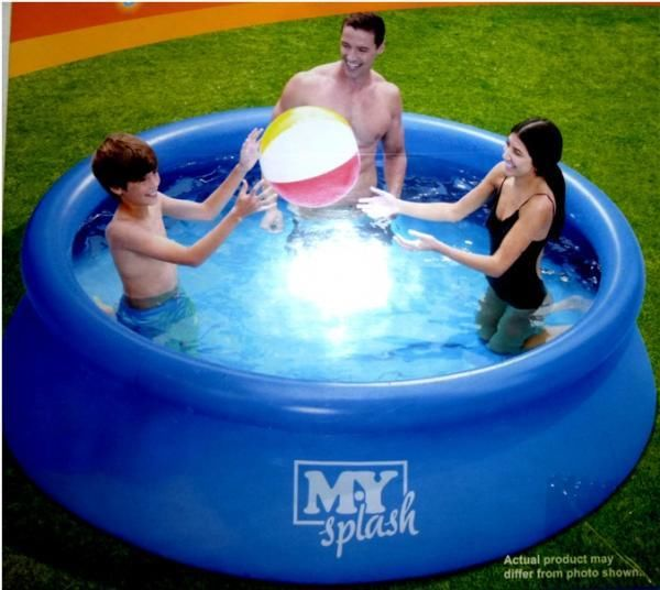 8ft paddling pool above ground swimming pool adults kids for Garden paddling pools
