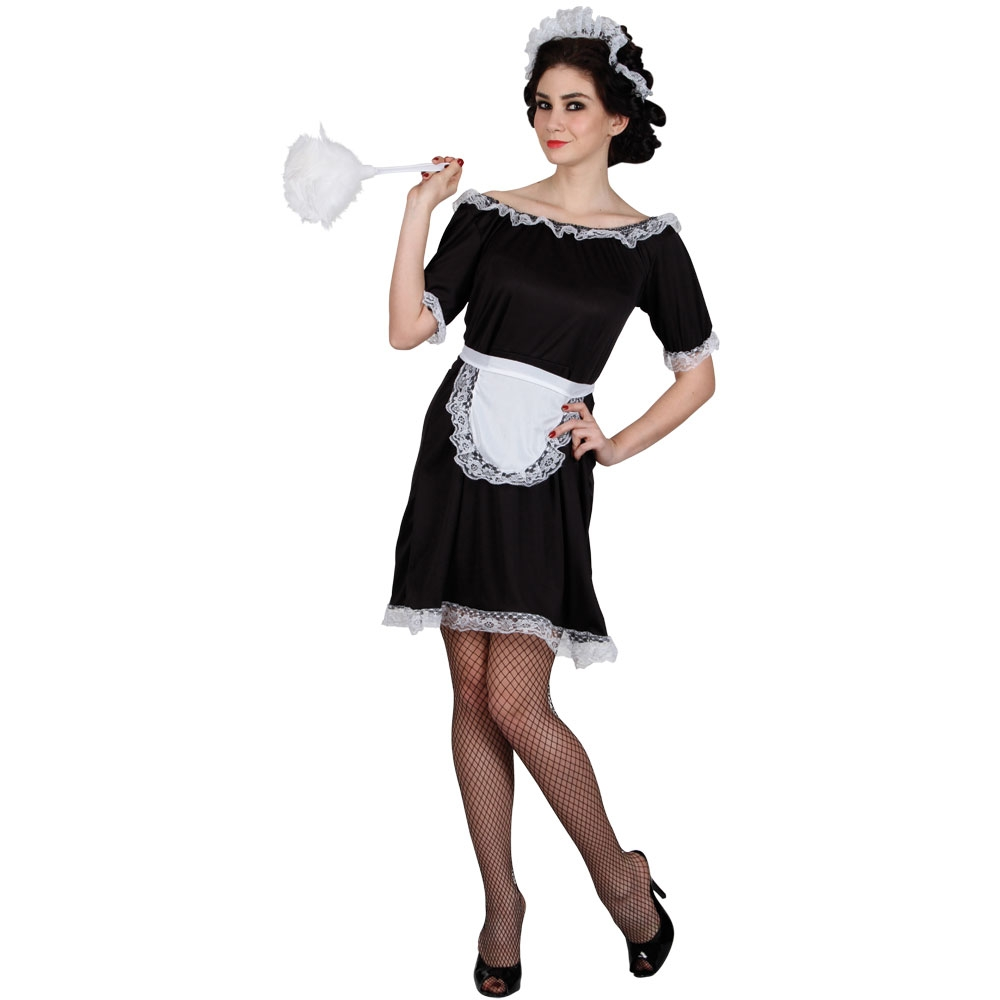 French-Maid-Ladies-Fancy-Dress-Costume-Classic-Maids-Waitress-Outfit-5-Sizes