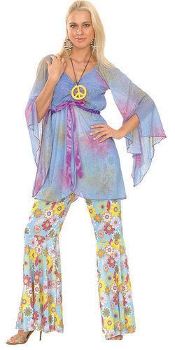 Hippy-Ladies-Fancy-Dress-Costume-60s-Flared-Hippie-1960s-Outfit-Sizes-6-28-New