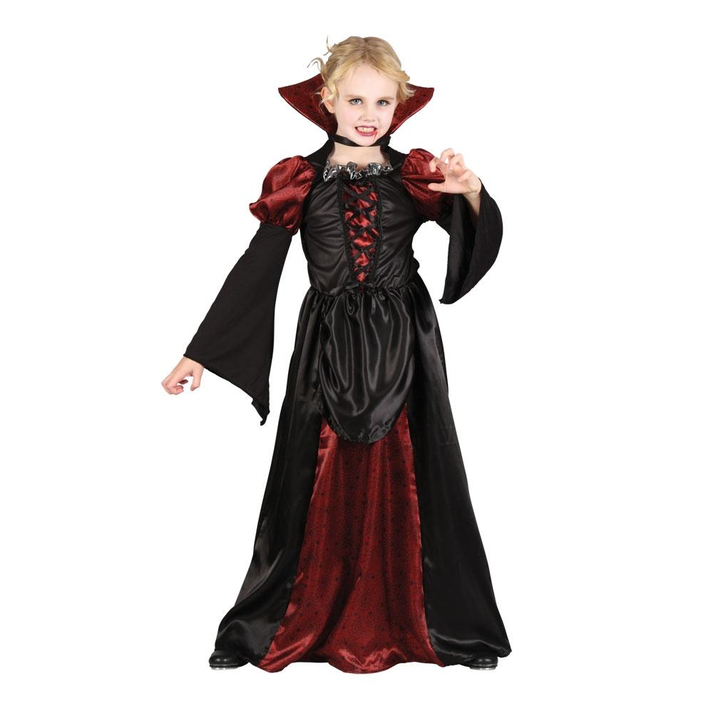 vampiress girls halloween fancy dress costume kids vampire