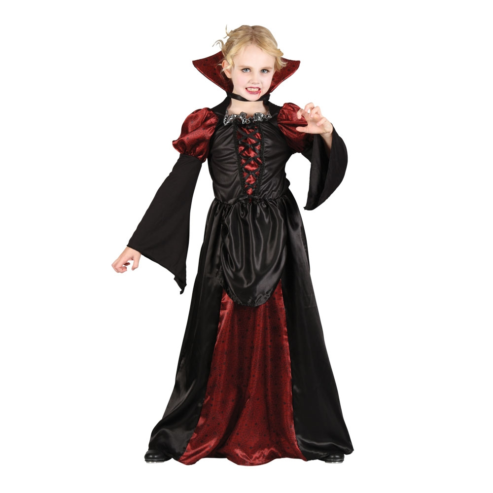 Vampiress Girls Halloween Fancy Dress Costume Kids Vampire Scary