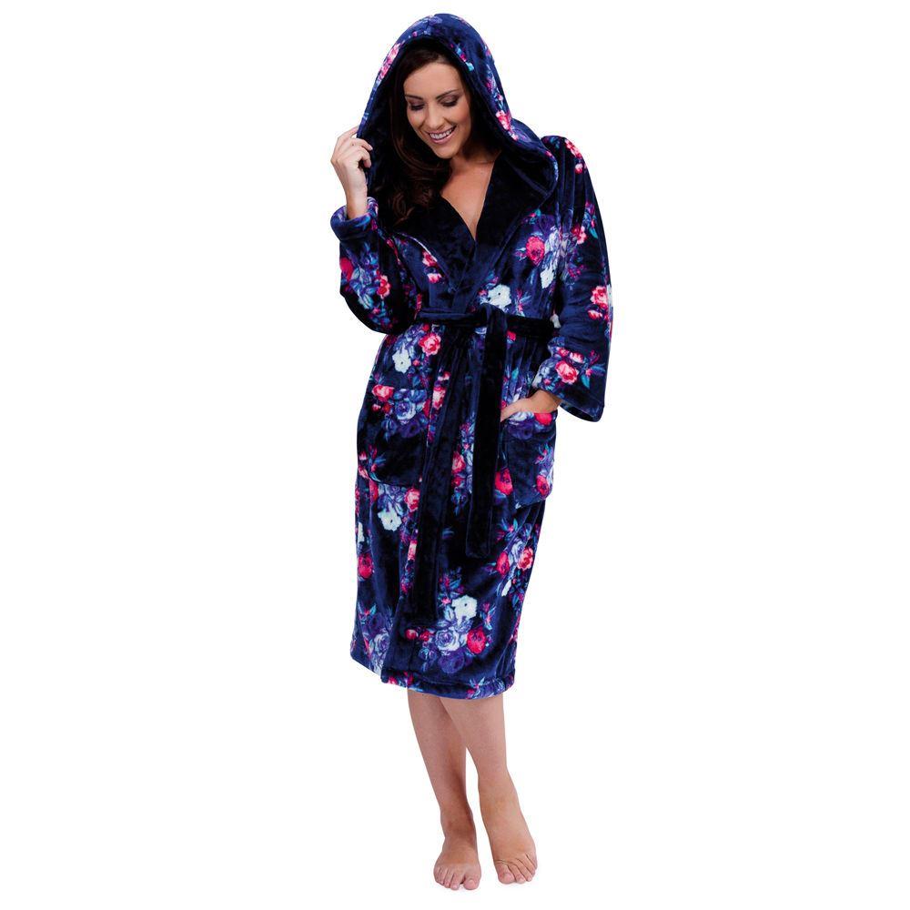 femmes peignoir de luxe super doux polaire maison manteau robe de chambre motif floral ebay. Black Bedroom Furniture Sets. Home Design Ideas
