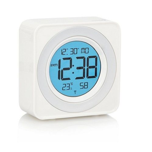 white alarm clock digital acctim radio controlled colour. Black Bedroom Furniture Sets. Home Design Ideas