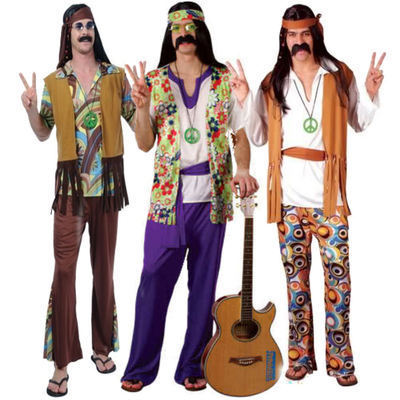 60s 70s Adults Hippie Hippy Mens Fancy Dress Costume Groovy Outfit + Headband