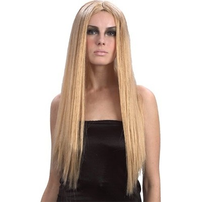 24-Ladies-Long-Straight-Wig-Fancy-Dress-Accessory-Black-Blonde-Brown-Or-Silver