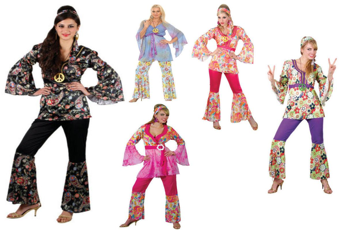 Adult Ladies Hippy Fancy Dress Outfit 60s-70s Hippie Flares Top Costume UK 6-28