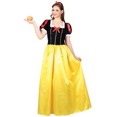 Snow Princess Ladies Fairy Tale Fancy Dress Costume Long Snow White Outfit