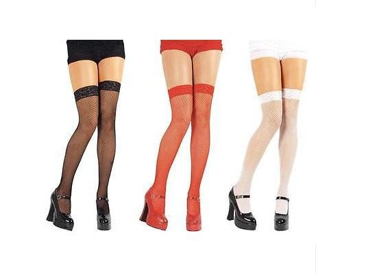 Ladies-Sexy-Fishnet-Stockings-Hold-Ups-With-Lace-Tops-One-Size-Black-Red-White
