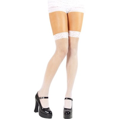 Ladies Sexy Fishnet Stockings Hold Ups With Lace Tops One Size Black Red White
