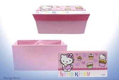 Hello Kitty Toy Storage Bench 2 In 1 Toy Box 30.5 x 62 x 31.5cm Pink Branded