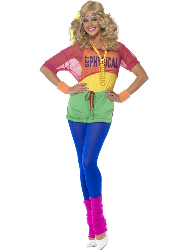 80s Disco Neon Ladies Fancy Dress Costume Lets Get Physical 1980s Outfit S M L Ebay