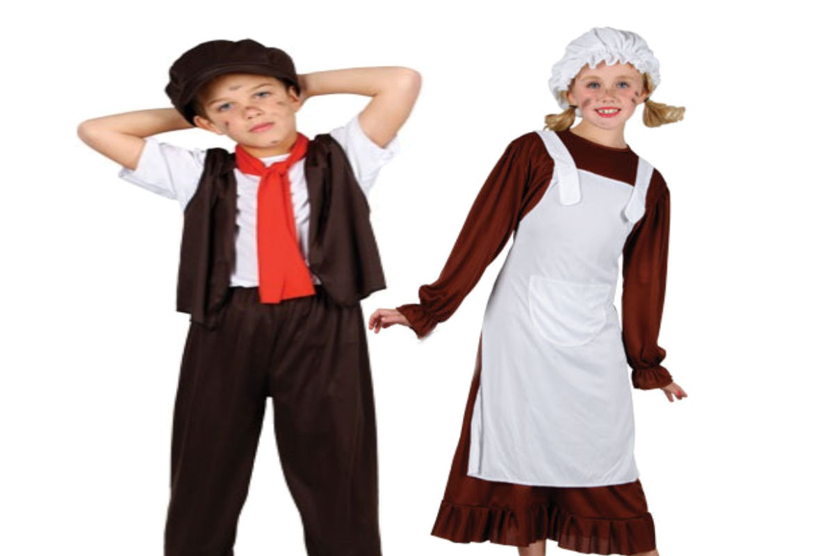 Child Victorian Poor Boys Dodger Or Girls Maid Book Week Fancy Dress Costume