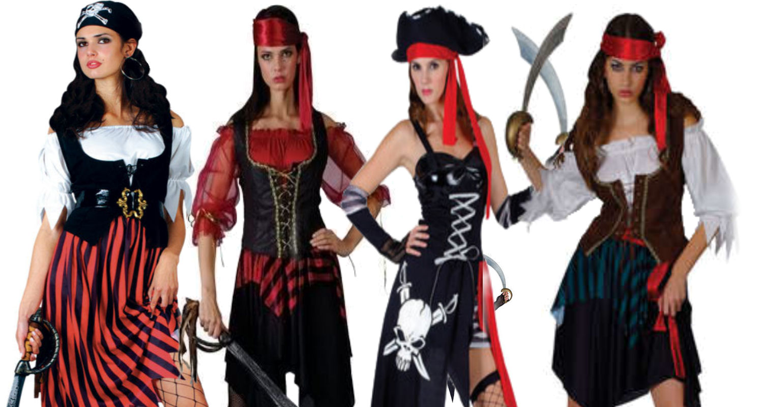 Adult Ladies Pirate Fancy Dress Costume Lady Womens Caribbean Pirates UK 6-28