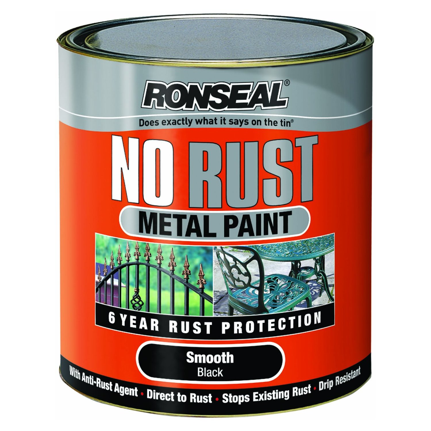 Ronseal Metal No Rust Paint Black 2 5l Hammered Or Smooth Outdoor Gates Railings Ebay