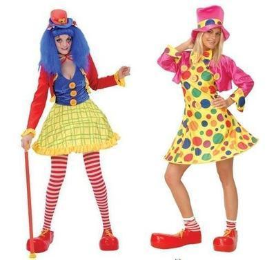 Clown Costume Ladies Circus Clown Fancy Dress Party Outfit 2 Designs 6 Sizes
