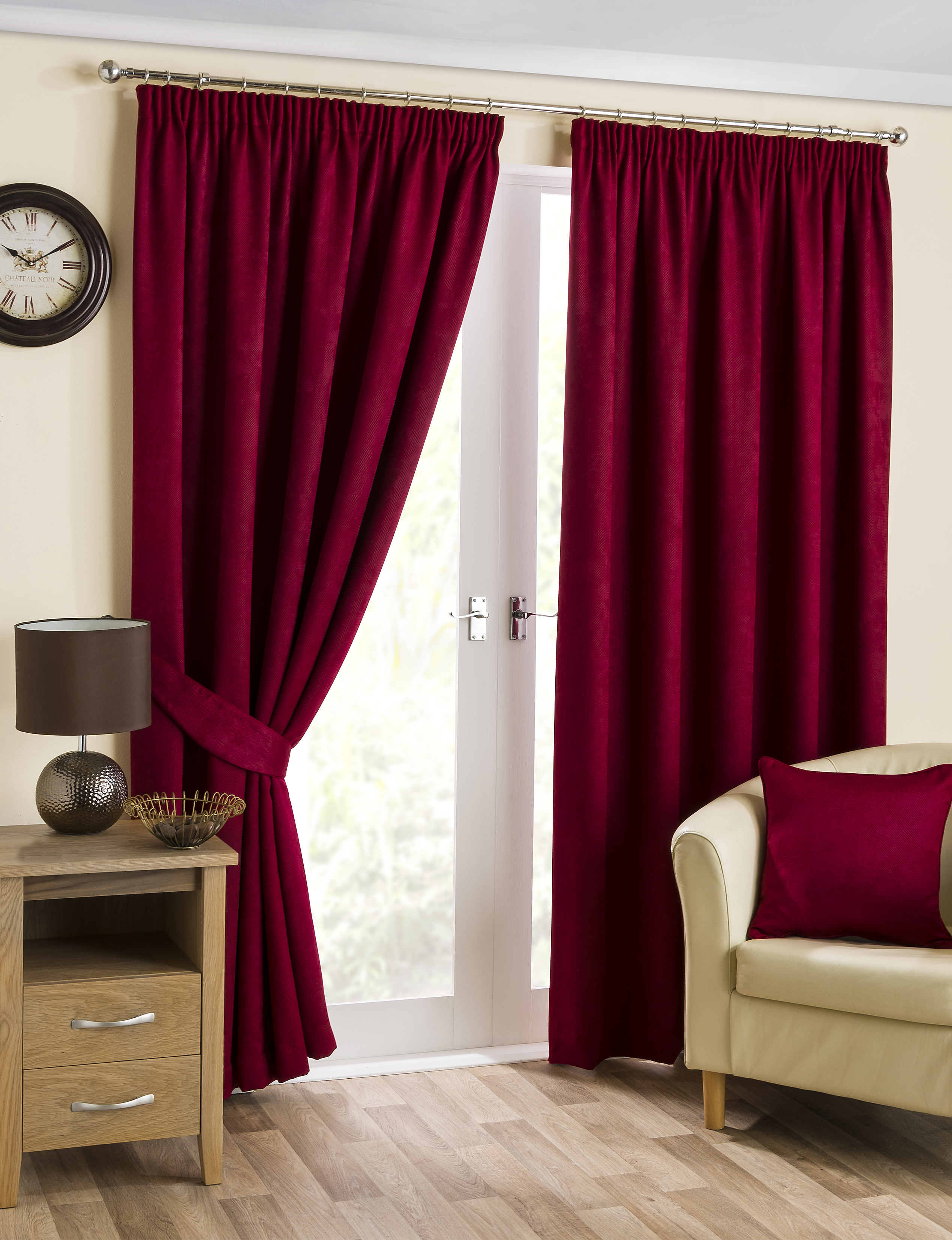 Cranberry Ready Made Luxury Thermal Blackout Curtains Tape Top Soft Fully Lined