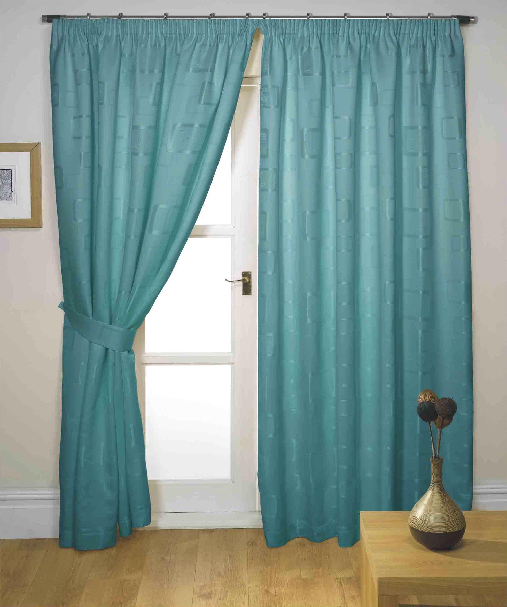 cortinas ya hechas cinta superior verde azulado 66 x 90 de